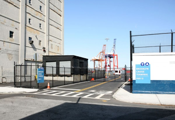 The entrance to Brooklyn Cruise Terminal at the corner of Bowne and Imlay Streets in Red Hook