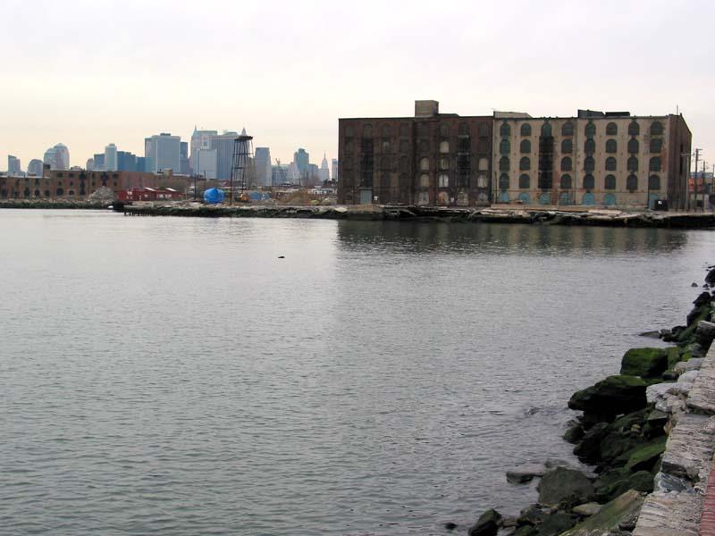Beard Street Piers and the skyline of downtown Manhattan